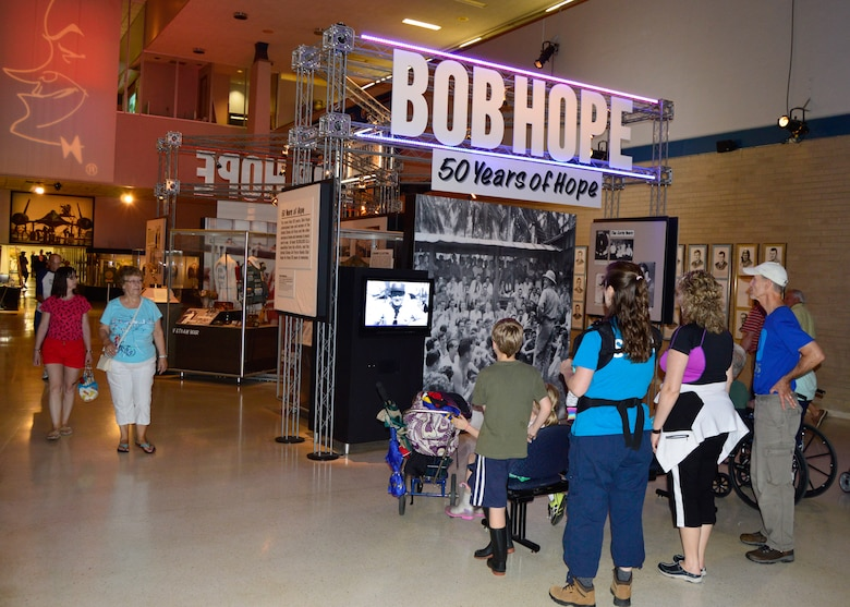 DAYTON, Ohio -- Visitors view an exhibit honoring comedian Bob Hope which is on display in Kettering Hall at the National Museum of the United States Air Force. (U.S. Air Force photo)