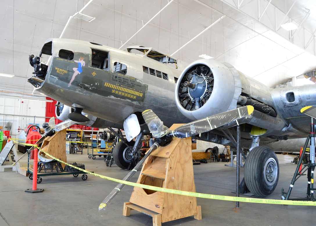 """DAYTON, Ohio (06/2015) -- The B-17F """"Memphis Belle"""" in the restoration hangar at the National Museum of the United States Air Force. (U.S. Air Force photo)"""