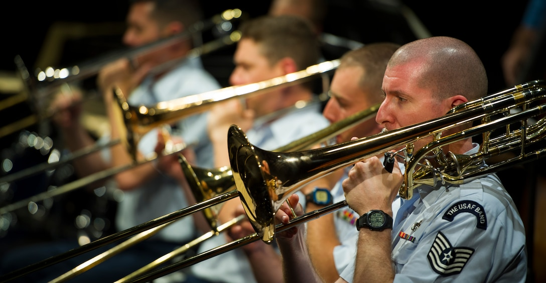 Technical Sergeant Ben Polk, bass trombone, performs during an Airmen of Note concert at The Great American Brass Band Festival. (U.S. Air Force Photo/released)