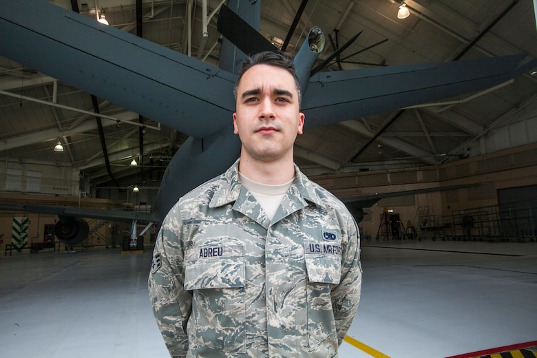 Portrait of Senior Airman David G. Abreu, hydraulic mechanic, 108th Wing Maintenance Squadron, New Jersey Air National Guard, in front of a 108th Wing KC-135R Stratotanker at Joint Base McGuire-Dix-Lakehurst, N.J., May 16, 2015. (U.S. Air National Guard photo by Master Sgt. Mark C. Olsen/Released)