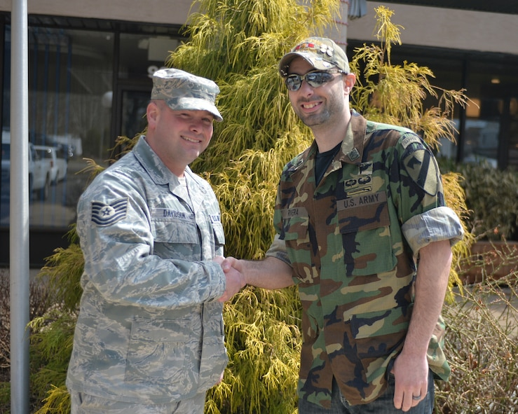 WESTHAMPTON BEACH, New York – Technical Sgt. Matthew Davidson, 106th Rescue Wing and Army veteran Sgt. Vincent Rivera meet for the first time since Davidson saved Sgt. Rivera from the side of a highway. Friday, March 27th 0545, Rivera was sleepwalking and was found on the ground by Technical Sgt. Matthew Davidson along the side of Sunrise Highway, Route 27 on Long Island, New York.