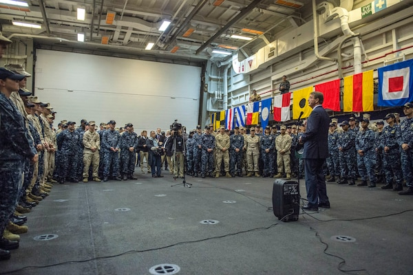 U.S. Defense Secretary Ash Carter talks with U.S. sailors and Marines aboard the USS San Antonio after the ship's arrival in Tallinn, Estonia, June 23, 2015. Carter is in Europe to meet with European defense ministers and participate in his first NATO ministerial as defense secretary. DoD photo by U.S. Air Force Master Sgt. Adrian Cadiz