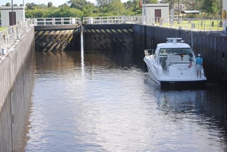 Vessel locking through St. Lucie Lock near Stuart, Florida