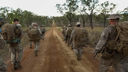 U.S. Marines with Company C, 1st Battalion, 4th Marine Regiment, Marine Rotational Force – Darwin, participate in a conditioning hike during Exercise Southern Jackaroo 2015 June 14 at Townsville Field Training Area, Queensland, Australia. SJ15 was a combined training opportunity for the Marines with their Australian allies that helped to improve interoperability between the two forces. The U.S. Marine Corps and the Australian Defence Forces are committed to continuing their tradition of more than 100 years of global partnership and security cooperation between Australia and the United States of America.