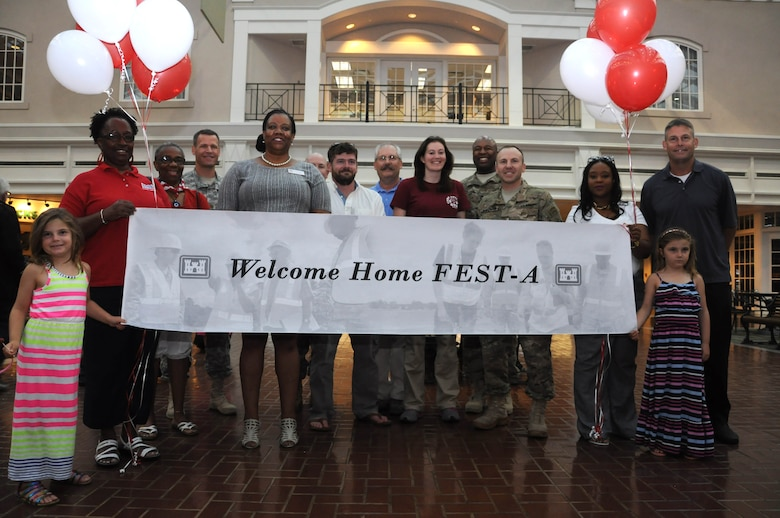 Family members and leaders from the U.S. Army Corps of Engineers Savannah District and South Atlantic Division welcomed five of the seven members of the 542nd Forward Engineering Support Team – Advanced (FEST-A) back from deployment at the Savannah-Hilton Head International airport, June 23.