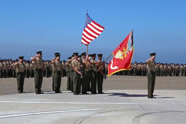 Colonel Jason Q. Bohm salutes after relinquishing his role as the commanding officer of the 5th Marine Regiment to Col. Kenneth R. Kassner aboard Marine Corps Base Camp Pendleton, Calif., June 24, 2015. Kassner most recently served as the assistant chief of staff, programming and requirements, U.S. Marine Corps Forces Special Operations Command.