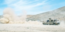 Soldiers with Co. D, 3rd Bn., 66th Armor Regt., 1st ABCT, 1st Inf. Div., participate in a live-fire exercise April 29 at the National Training Center located at Fort Irwin, California. The live-fire exercise was used to hone the skills of the M1A1 Abrams tank crews during the rotation.