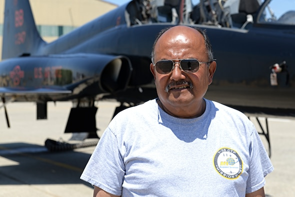 Bob Leon, 9th Maintenance Squadron T-38 Talon technician, poses for a photo June 24, 2015, on the flightline at Beale Air Force Base, California. (U.S. Air Force photo by Airman 1st Class Ramon A. Adelan)