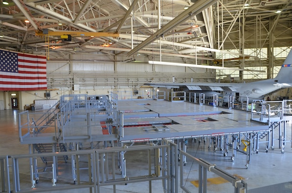 The long awaited Isochronal Inspection (ISO) Aircraft Maintenance Platforms are prepositioned during assembly in a hanger at the 145th Maintenance Squadron, North Carolina Air National Guard Base, Charlotte Douglas International Airport; May 30, 2015. The new ISO stands provide maintainers quicker and safer access to all areas of the C-130 aircraft compared to the old stands. The huge surface area provides many options for maintainers to move and position themselves where they need to be. (U.S. Air National Guard photo by Master Sgt. Patricia F. Moran, 145th Public Affairs/Released)