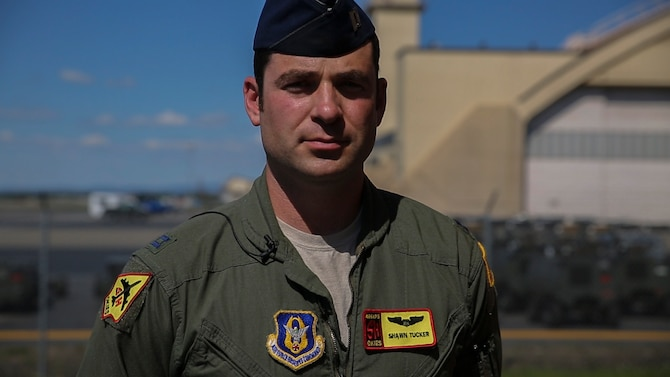 U.S. Air Force Capt. Shawn R. Tucker, a Skiatook, Oklahoma, native, currently a KC-135 Stratotanker pilot with the 465th Air Refueling Squadron, participates in Exercise Northern Edge 2015, June 18, 2015. Northern Edge 2015 is Alaska's premier joint training exercise designed to practice operations, tactics, techniques and procedures as well as enhance interoperability among the services. Thousands of Airmen, Soldiers, Sailors, Marines and Coast Guardsmen from active duty, reserve and National Guard units, including Tucker's unit, the 507th Air Refueling Wing out of Tinker Air Force Base, Oklahoma, are involved. (U.S. Marine Corps photo by Cpl. Thor J. Larson/Released)