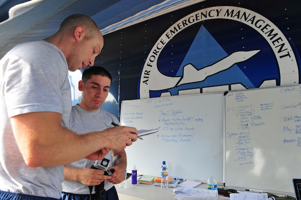 Senior Airmen James Corvin, left, and Elliseo Trujillo, 4th Aerospace Medicine Squadron bioenvironmental engineers, perform a health risk assessment during an integrated base emergency response capabilities training exercise, June 24, 2015, at Seymour Johnson Air Force Base, North Carolina. An HRA provides individuals with an evaluation of their health risks such as blood pressure, heart rate and overall health. (U.S. Air Force photo/Senior Airman John Nieves Camacho)