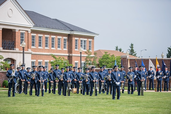 The Ceremonial Brass played on the Ceremonial Lawn at Joint Base Anacostia-Bolling on June 22nd as part of the Change of Command ceremony for the 11th Ops Group. (U.S. Air Force photo by Senior Master Sgt. Kevin Burns/ released)