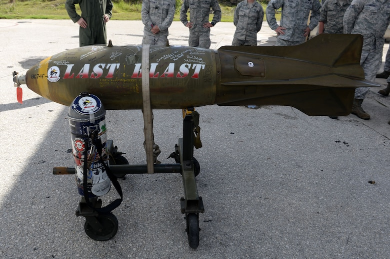 On June 26, 2015, 20th Expeditionary Bomb Squadron Airmen, dropped the final M117 bomb in the Pacific Air Force's inventory. Dropping the final M117 in PACAF is a small part of U.S. Pacific Command's Continuous Bomber Presence which was established at Andersen in 2004. U.S. Pacific Command's CBP demonstrates the United States' commitment to the security and stability of the Indo-Asia Pacific region. (U.S. Air Force photo by Airman 1st Class Joshua Smoot/Released)