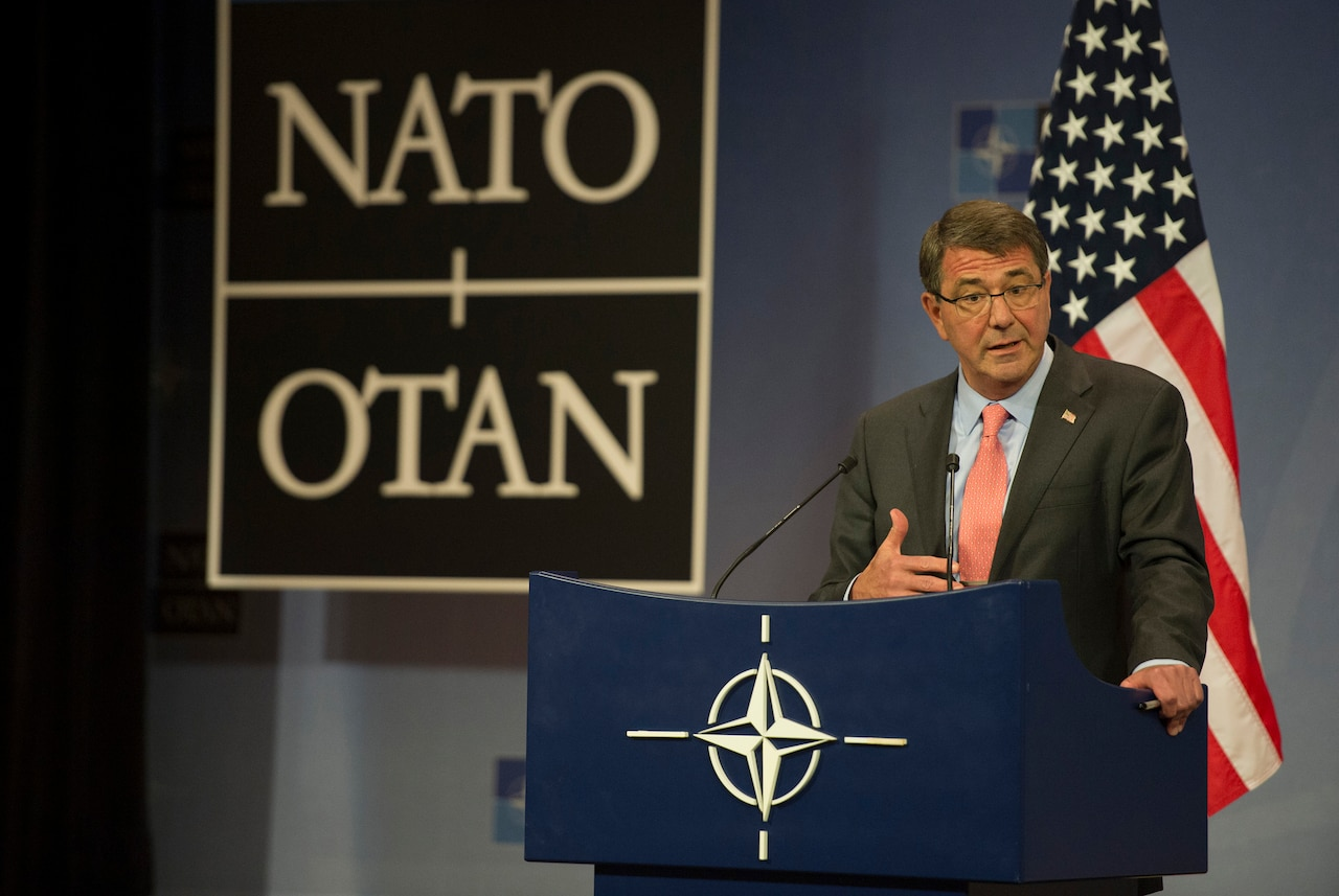 Defense Secretary Ash Carter speaks during a news conference at NATO headquarters in Brussels during his first NATO defense ministers conference as defense secretary, June 25, 2015. DoD photo by Air Force Master Sgt. Adrian Cadiz