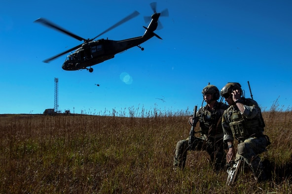 U.S. Air Force Airmen from the 17 Special Tactics Squadron out of Fort Benning, Georgia, control airspace operations, during Exercise Jaded Thunder Oct. 29, 2014 in Salina, Kansas. Joint special operations forces, including the U.S. Air Force's 17th Special Tactics Squadron, are training together in Exercise Jaded Thunder to ensure high proficiency for deployment requirements. The 17th STS of the 24th Special Operations Wing provides precision air strikes for join ground special operation forces. (U.S. Air Force photo by Senior Airman James Richardson)