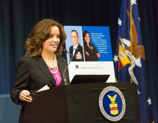 White House Fellow, Class of 2012-2013, then Maj. Ariel Batungbacal, 25th Intelligence Squadron Director of Operations, delivers a briefing at the Department of Labor on women veterans' economic security. (Courtesy photo)