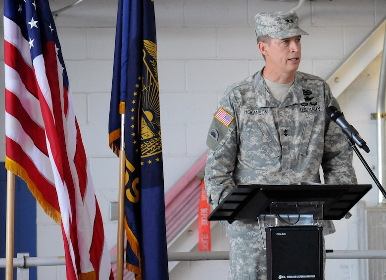 Army National Guard Maj. Gen. Daniel Hokanson, Adjutant General for Oregon, addresses members of the 142nd Fighter Wing and family members during the formal mobilization ceremony, June 26, 2015, Portland Air National Guard Base, Ore. (U.S. Air National Guard photo by Tech. Sgt. John Hughel, 142nd Fighter Wing Public Affairs/Released)