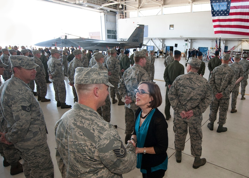 Oregon Governor Kate Brown greets deploying Airmen from the 142nd Fighter Wing following the formal mobilization ceremony, June 26, 2015, Portland Air National Guard Base, Ore.   The unit is deploying to Eastern Europe in support of Operation Atlantic Resolve.  (U.S. Air National Guard photo by Tech. Sgt. John Hughel, 142nd Fighter Wing Public Affairs/Released)