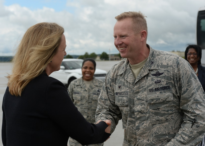 Deborah Lee James, Secretary of the U.S. Air Force, shakes the hand of U.S. Air Force Col. Joe McFall, 52nd Fighter Wing commander, during her visit of Spangdahlem Air Base, Germany, June 23, 2015. The Secretary completed a visit of installations through Europe June 24, 2015, to meet Airmen, community leaders and allied and partner nation defense chiefs. (U.S. Air Force photo by Staff Sgt. Joe W. McFadden/Released)