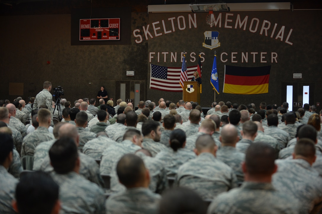 Deborah Lee James, Secretary of the U.S. Air Force, speaks to U.S. Air Force Airmen during an all-call at the Skelton Memorial Fitness Center at Spangdahlem Air Base, Germany, June 23, 2015. The Secretary completed a visit of installations through Europe June 24, 2015, to meet Airmen, community leaders and allied and partner nation defense chiefs. (U.S. Air Force photo by Staff Sgt. Joe W. McFadden/Released)