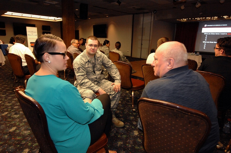 """U.S. Air Force Staff Sgt. Michael Shives, 1st Aerospace Command and Control Squadron, participates in an exercise with Elsbeth Magilton, left, and Lee Foster, right, during a """"How to by an Ally"""" event held at the Patriot Club June 19 at Offutt Air Force Base, Nebraska. The event was one of many events planned during the month of June by the Offutt AFB Diversity Team to promote diversity. (U.S. Air Force photo by Delanie Stafford/Released)"""