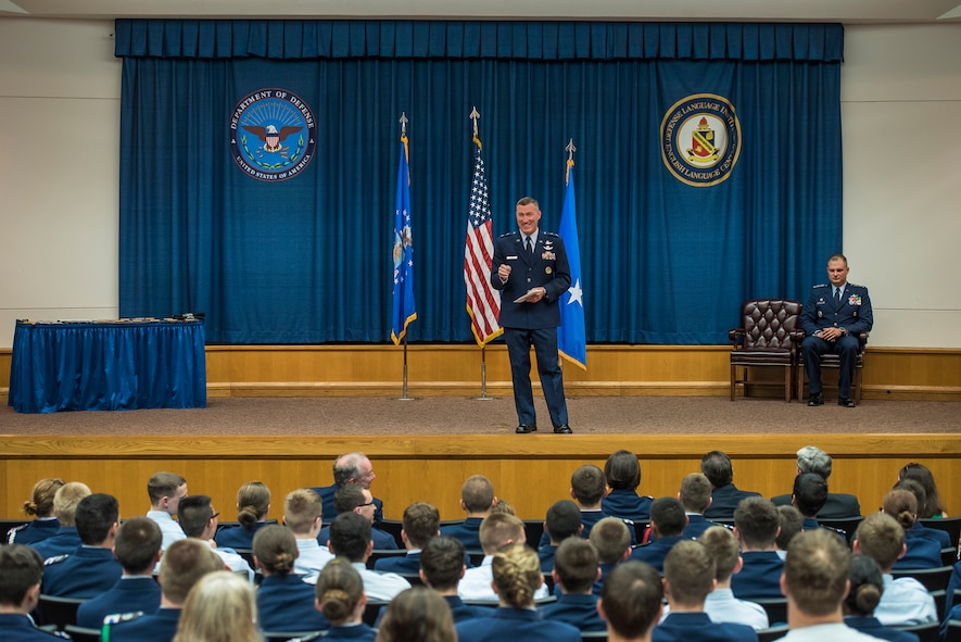 Maj. Gen. Ed Wilson, 24th Air Force commander speaks to Civil Air Patrol cadets, and other attendees during a graduation ceremony for the 2015 Civil Air Patrol Cyber Defense Training Academy on Joint Base San Antonio - Lackland, Texas, June 13. Wilson was the presiding officer and key-note speaker for the ceremony and had the opportunity to present multiple achievement awards to outstanding cadets as well as certificates to all graduates. (U.S. Air Force photo by Master Sgt. Luke P. Thelen/Released)