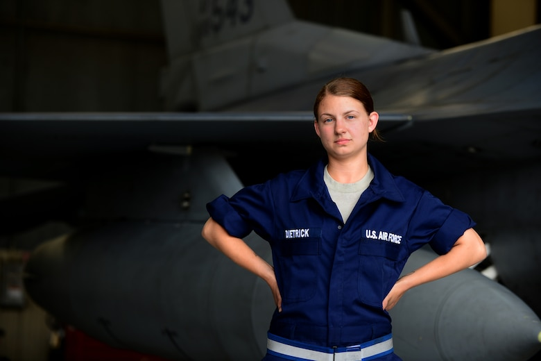 Staff. Sgt. Elizabeth Dietrick, 8th Maintenance Squadron inspection section team member, stands ready to perform her duties as a leader of 8 Airmen at Kunsan Air Base, Republic of Korea, June 9, 2015. Dietrick works with a team of Airmen during phase inspections to take an in-depth look at aircraft before and after flight. Phase inspections are performed on aircraft every 400 flight hours and involve procedural maintenance actions that require robust attention to detail. (U.S. Air Force photo by Staff Sgt. Nick Wilson/Released)