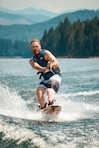 Cody Fulkerson, 23, of Springfield, Oregon wakeboarding for the first time at Dorena Reservoir on July 12, 2014.
