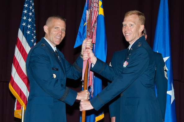 Lt. Col. Nathan Leap assumed command of the Community College of the Air Force during a change of command ceremony at the Air Force Senior Noncommissioned Officer Academy, June 19, 2015. Leap assumed command of CCAF from Lt. Col. Michael Artelli.  (US Air Force photo by Melanie Rodgers Cox/Released)