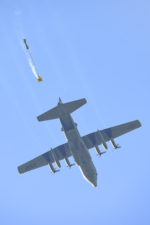 A C-130H Hercules aircraft assigned to the 153rd Airlift Wing, Wyoming Air National Guard drops a Container Delivery System bundle during Joint Precision Airdrop Delivery System (JPADS) training, June 27, 2015, at a drop zone near Camp Guernsey Joint Training Center, in Guernsey, Wyo. Aircrew members performed physical training, weapons qualification, water survival, combat survival, and JPADS training during four days of annual training at Guernsey. (U.S. Air National Guard photo by Master Sgt. Charles Delano)