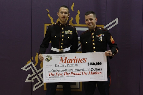 who was presented an $180,000 scholarship as part of the Marine Option ...