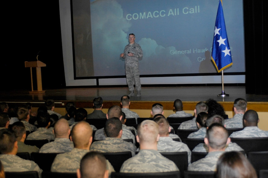 U.S. Air Force General Hawk Carlisle, Commander of Air Combat Command, speaks during an all call at Davis-Monthan Air Force Base, Ariz., Feb, 27, 2015. Carlisle spoke to Airmen about the past, present and future of the ACC Airmen. He also emphasized maintaining a solid force by setting priorities. In closing, he thanked the Airmen for all their hard work and dedication to making this the world's greatest Air Force. (U.S. Air Force photo by Airmen 1st Class Cheyenne Morigeau/Released)
