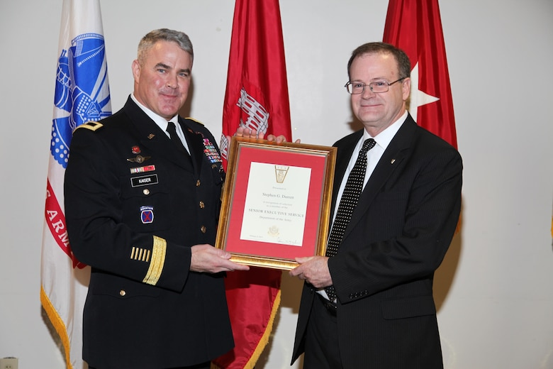 Brig. Gen. Richard Kaiser inducts Steve Durrett into the Senior Executive Service at a ceremony at the Mazzoli Federal Building, Louisville, Kentucky.