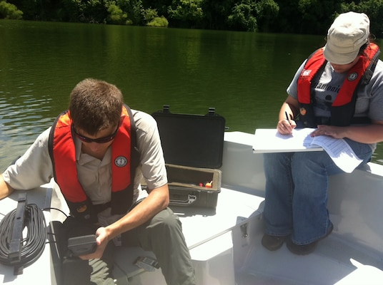 Water quality team members Jade Young and Zac Wolf respond to public concerns of elevated E. coli levels at Barren River Lake. While it is not the main purpose, incident response is an important role of the Louisville District water quality program.