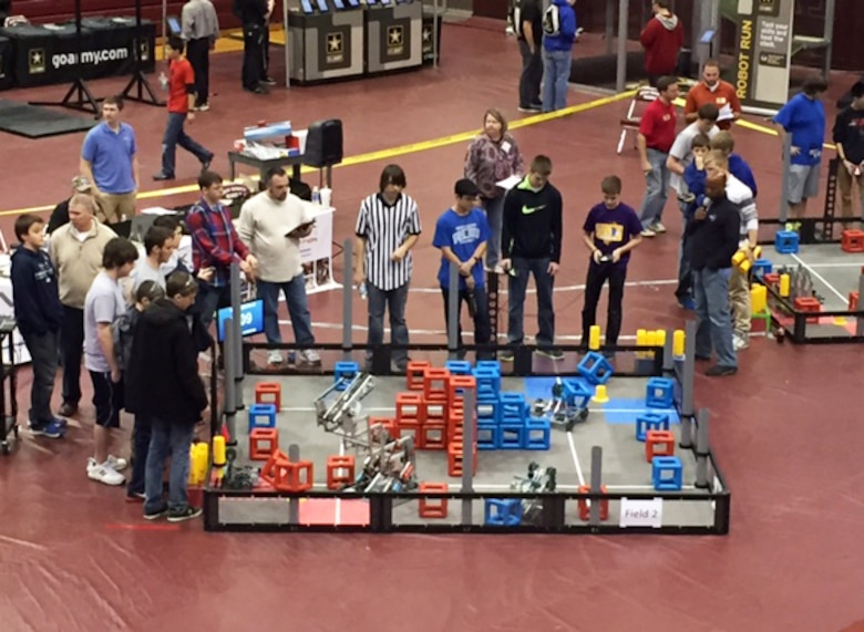 Louisville District engineers volunteered to serve as judges for the regional VEX Robotics competition in Owenton, Ky., in January.