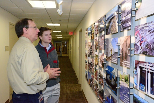 NASHVILLE, Tenn. (Feb 27, 2015) – Jimmy Waddle, chief of Engineering and Construction Branch, Nashville District (right) talks with Michael Lee a sophomore student from Montgomery Bell Academy.  Lee participated in an engineer shadow program with the U. S. Army Corps of Engineers Nashville District engineers to learn more about the jobs and educational requirements of the career field.