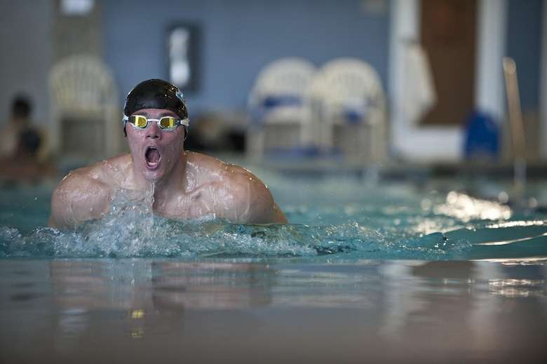 Timothy Babb takes a breath during a swimming practice session Feb. 27, 2015, at Nellis Air Force Base, Nev. The Air Force Trials are an adaptive sports event designed to promote the mental and physical well-being of seriously ill and injured military members and veterans. (U.S. Air Force photo/Staff Sgt. Siuta B. Ika)