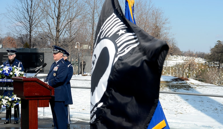 Air Force Chief of Staff Gen. Mark A. Welsh III delivers his remarks during a wreath laying ceremony March 2, 2015, honoring Air Force Vietnam prisoners of war and missing in action at the Air Force Memorial in Arlington, Va.  (U.S. Air Force photo/Scott M. Ash)