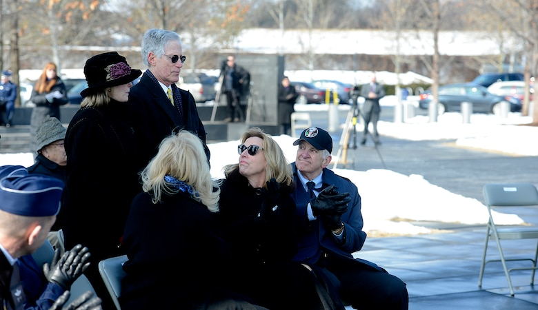 Secretary of the Air Force Deborah Lee James (seated bottom right) thanks Bob Brudno and his wife, Sheila, during a wreath laying ceremony March 2, 2015, hosted by Air Force Chief of Staff Gen. Mark A. Welsh III, honoring Air Force Vietnam prisoners of war and missing in action at the Air Force Memorial in Arlington, Va.  Bob Brudno's brother, Capt. Alan Brudno, was a Vietnam POW. (U.S. Air Force photo/Scott M. Ash)