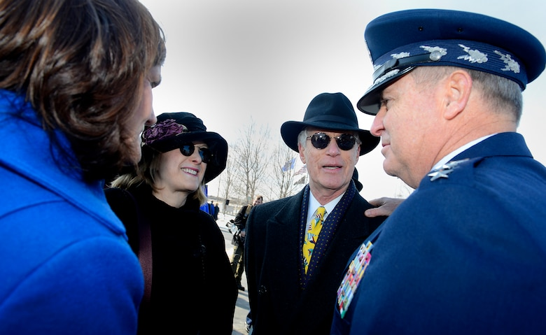 Air Force Chief of Staff Gen. Mark A. Welsh III and his wife, Betty, speak with Bob and Sheila Brudno following a wreath laying ceremony March 2, 2015, at the Air Force Memorial in Arlington, Va. The ceremony honored Air Force Vietnam prisoners of war and missing in action. Bob's brother Capt. Alan Brudno, was a Vietnam POW. (U.S. Air Force photo/Scott M. Ash)