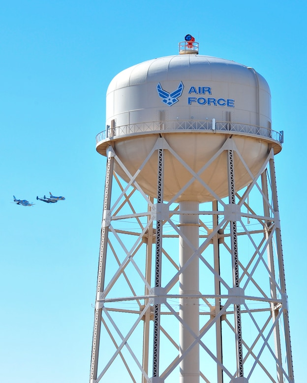 A P-38 Lightning, P-51 Mustang and two F-86 Sabres fly in formation during the 2015 Heritage Flight Training and Certification Course at Davis-Monthan Air Force Base, Ariz., Feb. 27, 2015.  The annual aerial demonstration training event has been held at D-M since 2001, providing civilian and military pilots the opportunity to practice flying in formation for the upcoming air show season. (U.S. Air Force photo by Airman 1st Class Chris Massey/Released)