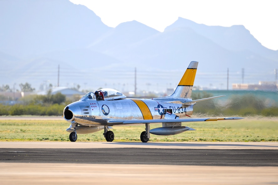 An F-86 Sabre taxies on the flightline during the 2015 Heritage Flight Training and Certification Course at Davis-Monthan Air Force Base, Ariz., Feb. 27, 2015.  During the course, aircrews practiced ground and flight training to enable civilian pilots of historic military aircraft and U.S. Air Force pilots of current fighter aircraft to fly safely in formations together. (U.S. Air Force photo by Airman 1st Class Chris Massey/Released)