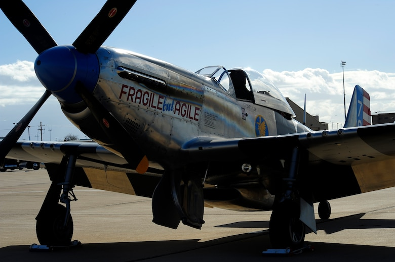 A P-51 Mustang is parked on the flightline during the 2015 Heritage Flight Training and Certification Course at Davis-Monthan Air Force Base, Ariz., Feb. 28, 2015. The aircraft that participated in this year's course were the historic P-51 Mustang, P-40 Warhawk, P-38 Lightning, P-47 Thunderbolt, F-86 Sabre, along with the current F-22 Raptor and the F-16 Fighting Falcon. (U.S. Air Force photo by Staff Sgt. Courtney Richardson/Released)