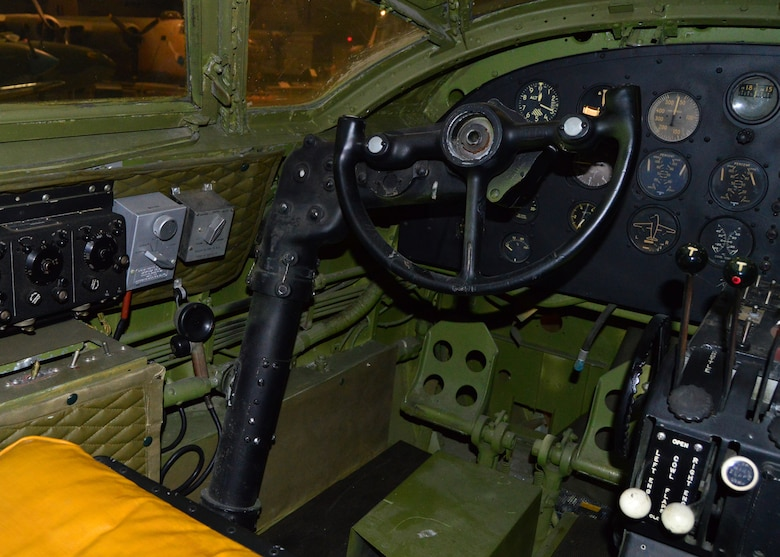 DAYTON, Ohio - Martin B-26G Marauder pilot position in the WWII Gallery at the National Museum of the U.S. Air Force. (U.S. Air Force photo)