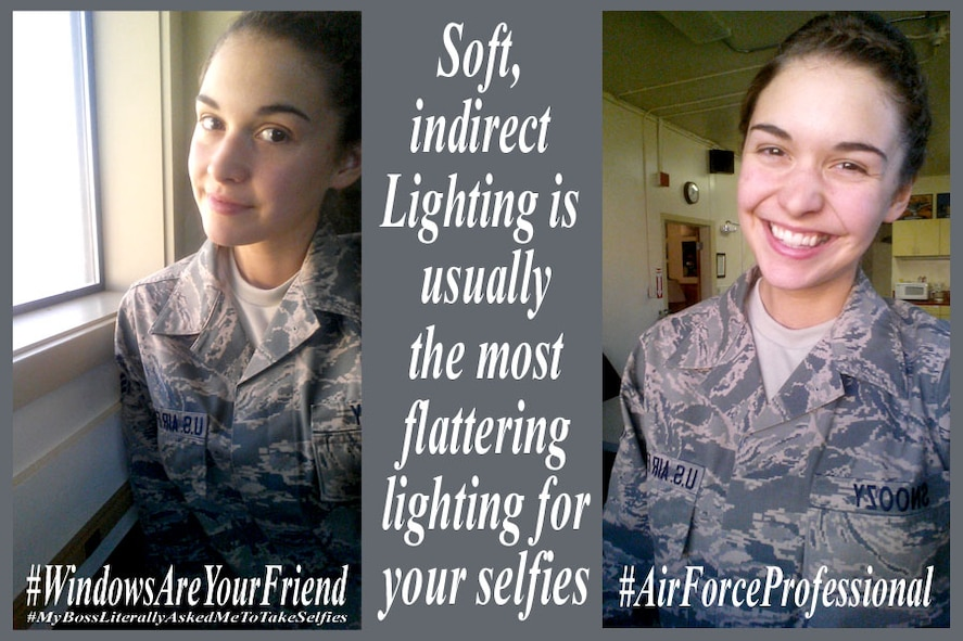 U.S. Air Force Senior Airmen Penny Snoozy poses in selfies to demonstrate how natural and soft lighting can improve photograph quality at Kingsley Field, Ore. March 2, 2015.  Snoozy offers tips to keep Airmen professional in their social media endeavors to positively influence community opinion.  (U.S. Air National Guard photo illustration by Senior Airman Penny Snoozy/released)