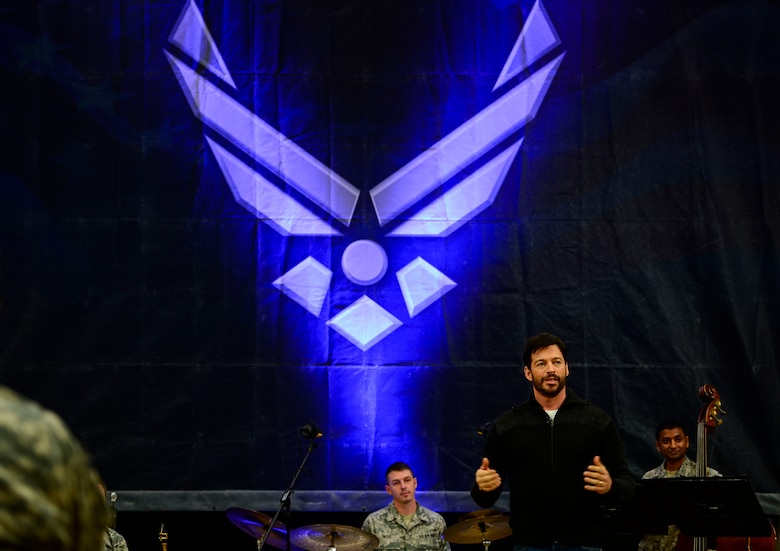 """Harry Connick Jr., musician, actor and """"American Idol"""" judge, answers questions from U.S. Air Force, Army and Navy Service member-musicians during a visit to Langley Air Force Base, Va., Feb. 23, 2015. The U.S. Air Force Heritage of America Band """"Rhythm in Blue"""" jazz ensemble hosted Connick Jr. and his band as part of a good-will tour to share military music and culture. (U.S. Air Force photo by Senior Airman Kayla Newman/Released)"""