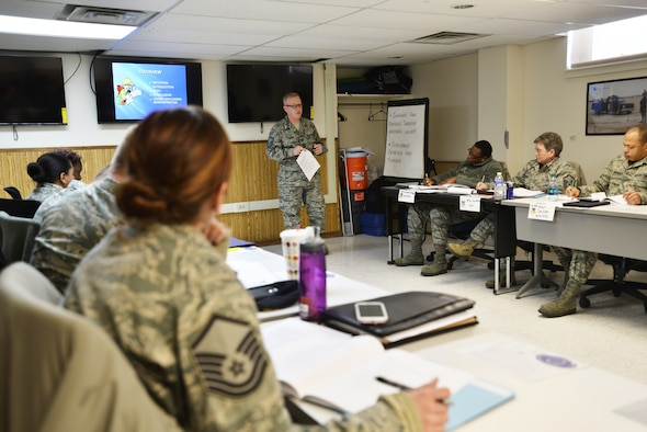 The 107th Airlift Wing hosted an Instructor Certification Program (ICP) here this past week with 16 New York Air National Guardsmen attending in order to become facilitators for Professional Military Education (PME) courses. Master Sgt. William Conner from Knoxville, Tennessee is one of the instructors for this course.  Mar. 3, 2015. (U.S. Air National Guard Photo/ Tech Sgt. Brandy Fowler)