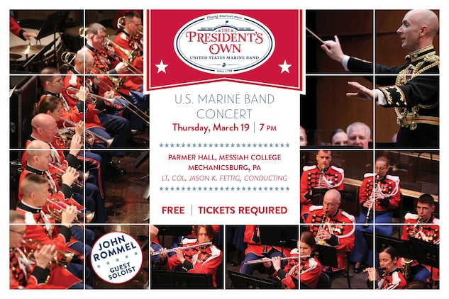 "Thursday, March 19 at 7 p.m. - The Marine Band concert will include music by Samuel Jones, David Conte, Maurice Ravel, Bernard Hermann, David Gillingham, John Philip Sousa, and John Williams' ""Adventures on Earth"" from E. T. (The Extra-Terrestrial). The concert is part of the National Trumpet Competition, one of the nation's premier organizations for trumpet players, and will feature guest soloist John Rommel. Rommel, performing Gillingham's When Speaks the Signal-Trumpet Tone, is trumpet professor at Indiana University in Bloomington and former principal trumpet of the Louisville Orchestra in Kentucky.