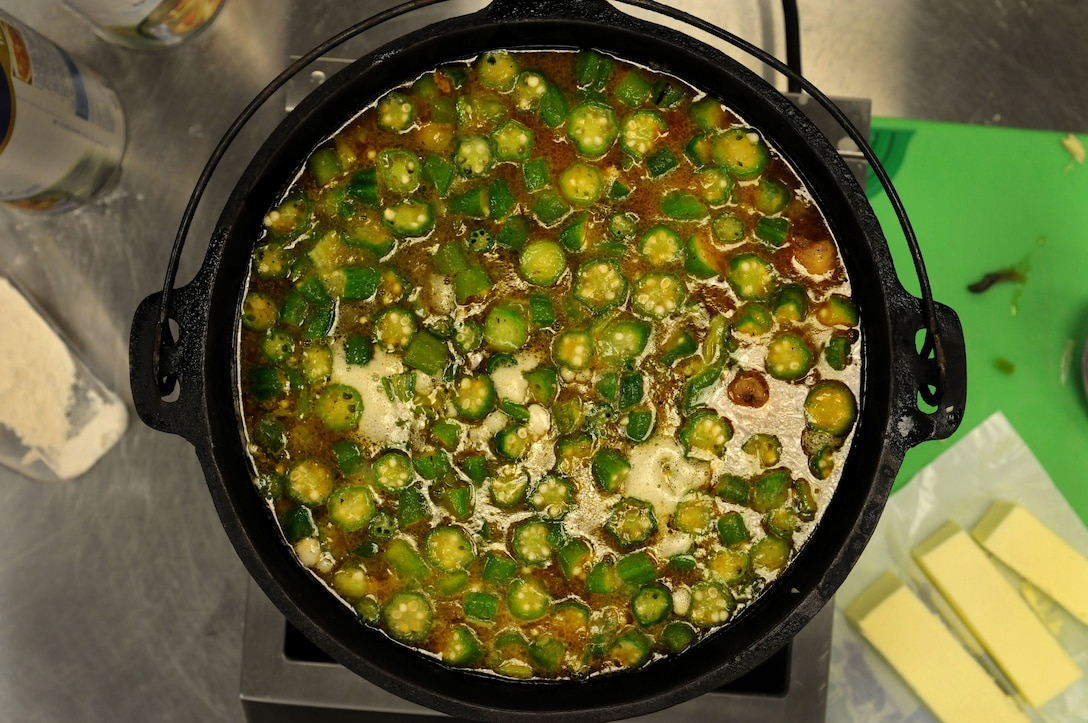 A pot of gumbo simmers on a tabletop burner during a gumbo cooking class held by the 81st Force Support Squadron's Single Airman Program Feb. 26, 2015, at the Mississippi Gulf Coast Community College, Perkinston, Miss. Gumbo is a classic Cajun dish typically served with okra, shrimp, and andouille sausage in  a savory broth. (U.S. Air Force photo by Airman 1st Class Duncan McElroy)