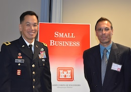 ALBUQUERQUE, N.M., -- South Pacific Division Commander Brig. Gen. Mark Toy and Daniel Curado, the District's Deputy for Small Business Programs, attend the District's Small Business Open House Feb. 26, 2015.  The event allowed small businesses to share their firm's unique capabilities and experiences with the Albuquerque District team.
